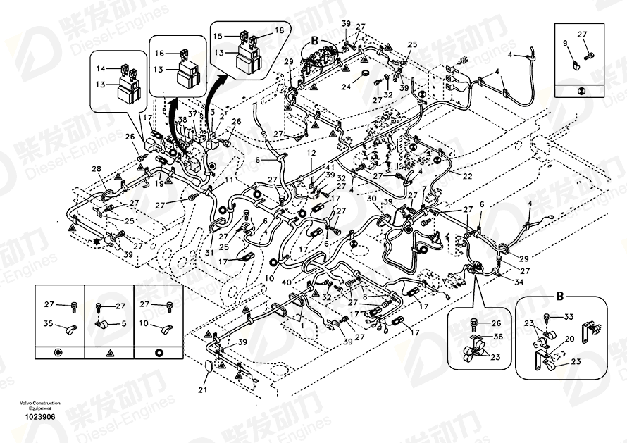 VOLVO Cable harness 14593563 Drawing