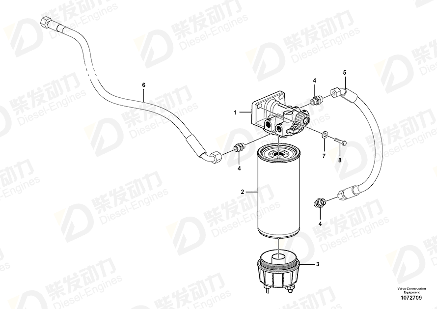 VOLVO Fuel filter 11110683 Drawing