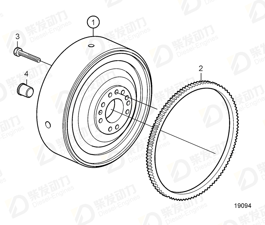 VOLVO Starter gear ring 22003479 Drawing
