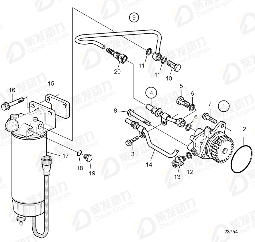 VOLVO Fuel pipe 21086352 Drawing